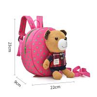 韩版卡通儿童小书包幼儿园男女童1-3岁宝宝婴儿双肩防走失丢背包 格子小熊 玫红