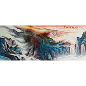 青年画家   王晶  高山雅居奇峰奇云八尺