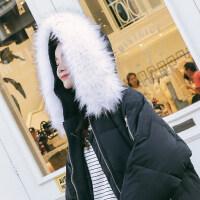 加厚羽绒女冬季外套毛领中长款棉袄学生过膝棉衣 黑色抽绳棉衣+白色毛领