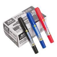 油性记号笔 双头勾线笔 物流包装书写笔 真彩259黑色蓝色红色签字笔 一盒20支