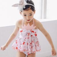 儿童泳衣 女新款女童泳衣分体式游泳衣婴幼儿游泳度假泳装温泉泳装套装 如图色 90