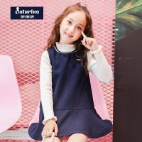 【2件5折】芙瑞诺童装女童秋装2018秋冬新品无袖格子连衣裙