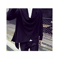 非主流男装发型师男士长袖卫衣不规则中长款风衣系扣开衫两穿外套 1 黑色