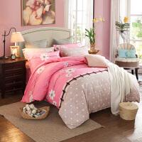 床上加厚磨毛四件套纯棉1.8m/2.0床双人床单被罩1.5m 花样年华 粉C