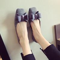 17秋冬新款 绒布鞋面方格纹橡胶防滑平底缎带蝴蝶结大码女单鞋
