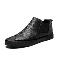 新款男士真皮休闲鞋蛇纹鳄鱼纹潮鞋轻便透气潮鞋 牛皮鞋男鞋