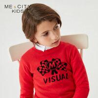 【1件2折到手价:49.8】米喜迪mecity童装春新款男童红色棋盘格旗帜提花长袖毛衫