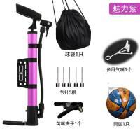 篮球打气筒便携式气针球针排球充气针皮球足球气球迷你打气嘴 魅力紫+多用嘴+英嘴夹+5气针+ 网兜