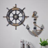 地中海风格船舵舵锚墙面装饰挂件房间酒吧墙面实木船手创意木质挂件装饰品