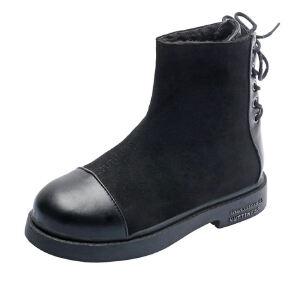 WARORWAR 2019新品YM173-A998冬季韩版圆头平底鞋纯色百搭款后系带短靴女鞋潮流时尚潮鞋百搭潮牌雪地靴