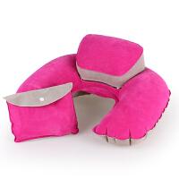 充气u型枕 植绒子母枕头pvc舒适旅游出行便携收纳护颈枕 玫红色
