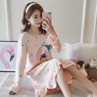 睡裙女秋季长袖韩版学生可爱大码宽松女士春秋季可外穿家居服