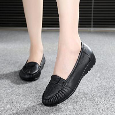 春秋妈妈鞋舒适防滑女式单鞋女软底豆豆鞋红色中老年平底皮鞋