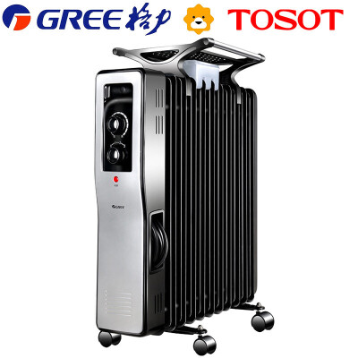 格力大松(TOSOT) NDY04-21 电热油汀取暖器家用节能电暖器 送干衣 加湿盒 三挡功率 过热保护安全设计 11片加热片,免加油,智能恒温,倾倒断电,