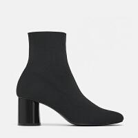 女鞋2018秋冬新款黑色单靴高跟粗跟短靴圆头弹力袜靴及踝靴子lkf