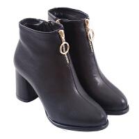 欧美冬季新款粗跟圆头高跟短靴时尚侧拉链百搭黑色加绒马丁靴女靴真皮