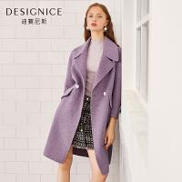 【开学季 到手价:400元】毛呢外套女迪赛尼斯季中长羊毛呢子外套双面呢女