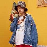 【1件4折到手价:147.6】美特斯邦威外套女2019秋季新款韩版休闲舒适潮流连帽女士牛仔外套