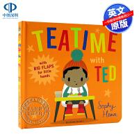 英文原版 Teatime with Ted 与泰迪的下午茶时间 精装 低幼儿童英语启蒙绘本纸板书 亲子互动读物 幼儿园认