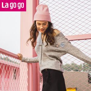 Lagogo/拉谷谷2017冬季新款V领套头针织衫女学院风刺绣毛衣甜美