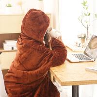 披肩毛毯两用珊瑚绒双层加厚保暖办公室单人学生披风冬季午睡斗篷 100cmX150cm