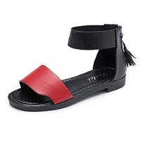 WARORWAR新品YM1-A598夏季学院平底鞋舒适流苏罗马鞋女士凉鞋
