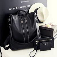 背包女士双肩包女包书包韩版潮流时尚旅行PU皮包多功能 黑色
