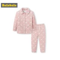 巴拉巴拉女童家居服秋冬新品加厚保暖儿童睡衣套装女大童卡通加绒