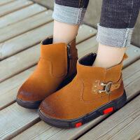 2018冬季儿童雪地靴牛皮男童靴子韩版时尚运动童棉鞋女童保暖棉靴