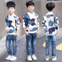 童装男童长袖卫衣新款圆领迷彩t恤套头衫儿童中大童