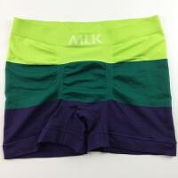 欧美货男士平角裤 出口日男式内裤短裤锦纶休闲中腰有大码 绿色 绿绿蓝 XL