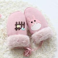 秋冬天保暖儿童可爱麂皮绒男孩女童宝宝小童手套带挂绳潮