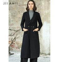 【大牌日,双11提前购】JII AMII2018冬装女新款大码冷淡风宽松翻领长款毛呢外套61840177