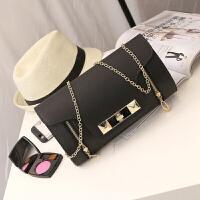 韩版双拉链转锁定型晚宴包6色实拍单肩斜跨方包 黑色
