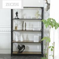 ZUCZUG美式复古铁艺办公室书架实木置物架简易多层落地储物木质展示架
