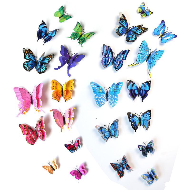 3D立体蝴蝶墙贴纸房间客厅卧室电视背景墙壁装饰柜子冰箱瓷砖贴画