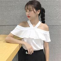chic上衣港味短袖t恤女韩版夏装2018新款露肩吊带两穿百搭打底衫