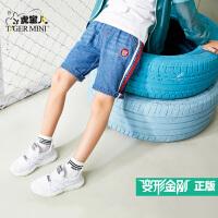 小虎宝儿童装男童纯棉短裤2018新款儿童牛仔短裤运动舒适变形金刚