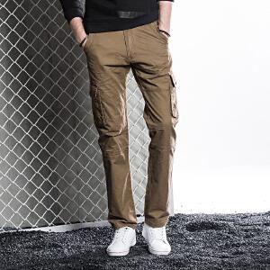 秋冬季纯色修身工装小脚裤工装裤收脚小脚休闲裤 纯棉长裤