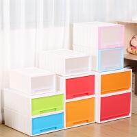 单层抽屉式收纳柜子塑料收纳箱自由组合储物柜儿童衣柜多层宝宝柜 44升 44*55*23.5 透明 白边