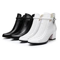 2018冬秋真皮粗跟短靴时尚高跟圆头镂空女靴子秋白色洞洞女鞋单靴软底