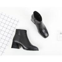 030 GAO 气质牛皮方头保暖羊皮毛一体粗跟女短靴 简单女靴