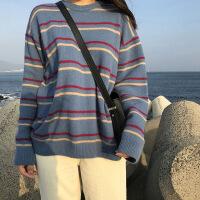 №【2019新款】秋冬新款韩国女装圆领毛衣女套头条纹针织衫宽松慵懒学生外穿 均码