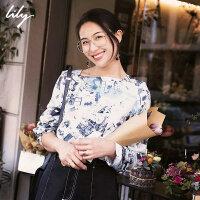 【此商品参加一口价,预估到手价199元】Lily春新款女装商务印花一字领长袖套头衫雪纺衫119120C8265