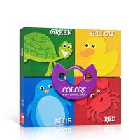 【全店300减100】4合1启蒙纸板书Four in One Colors Season颜色认知 英文原版进口图书幼儿宝