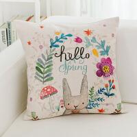 可爱卡通抱枕飘窗客厅沙发靠垫宿舍动漫靠枕正方形抱枕套子可拆洗