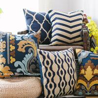 几何蓝白绣花靠垫套 条纹沙发棉麻美式刺绣靠背抱枕套 不含芯 45x45cm