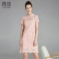 颜域品牌女装2018夏季装新款简约时尚复古旗袍花边经典镂空连衣裙