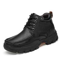 冬季真皮商务高帮皮鞋加绒保暖棉鞋男加厚羊毛一体雪地靴 黑色棉鞋
