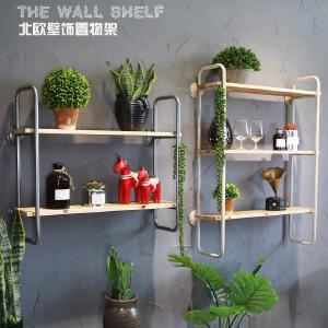 幸阁 美式铁艺实木创意简易方铁 书架置物架仿古做旧壁挂柜